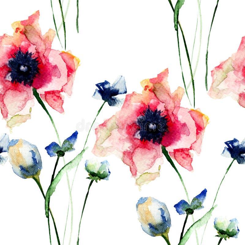 Modello senza cuciture con i fiori decorativi di estate illustrazione vettoriale