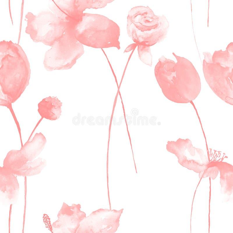 Modello senza cuciture con i fiori decorativi di estate illustrazione di stock