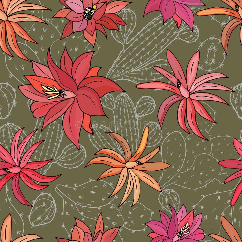 Modello senza cuciture con i fiori del cactus su un fondo verde royalty illustrazione gratis