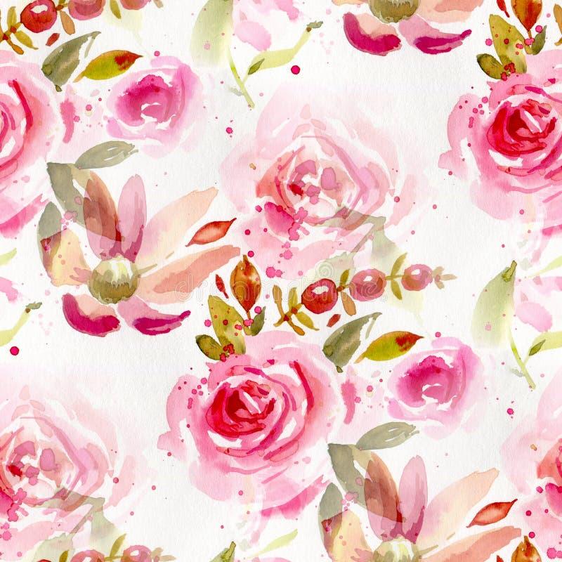 Modello senza cuciture con i fiori dell'acquerello royalty illustrazione gratis