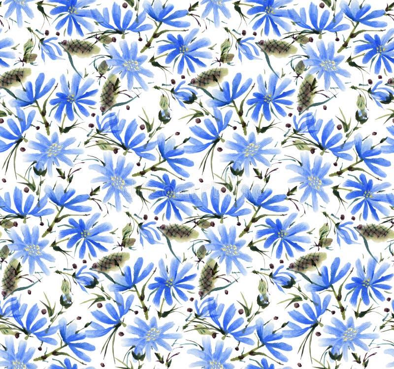 Modello senza cuciture con i fiori dell'acquerello illustrazione vettoriale