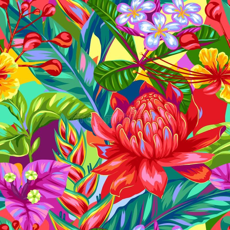 Modello senza cuciture con i fiori della Tailandia Piante, foglie e germogli multicolori tropicali royalty illustrazione gratis