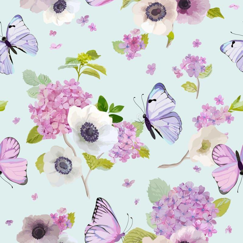 Modello senza cuciture con i fiori di fioritura dell'ortensia e le farfalle volanti nello stile dell'acquerello Fondo per tessuto illustrazione di stock