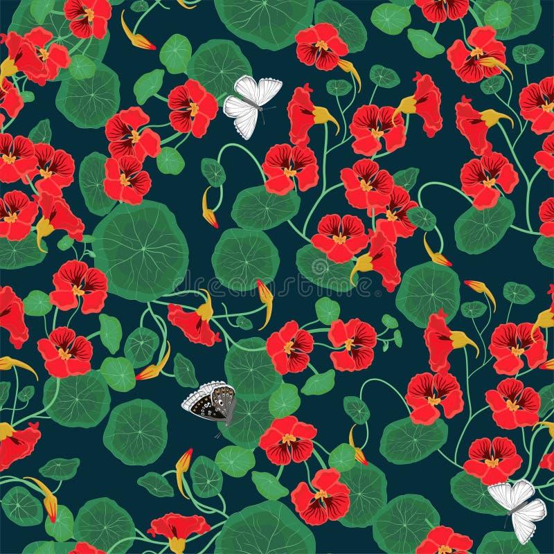 Modello senza cuciture con i fiori e le farfalle del nasturzio Illustrazione di vettore illustrazione vettoriale