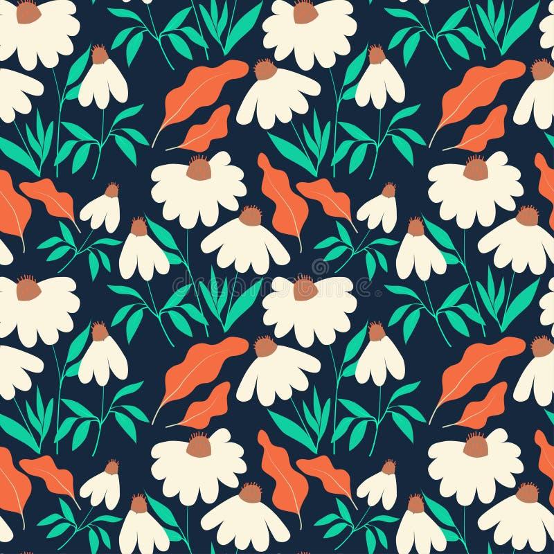 Modello senza cuciture con i fiori e le foglie della camomilla su fondo blu scuro royalty illustrazione gratis