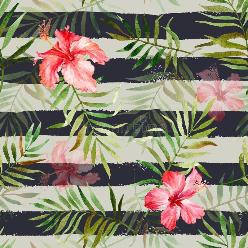 Modello senza cuciture con i fiori e le foglie tropicali dell'acquerello sopra illustrazione di stock