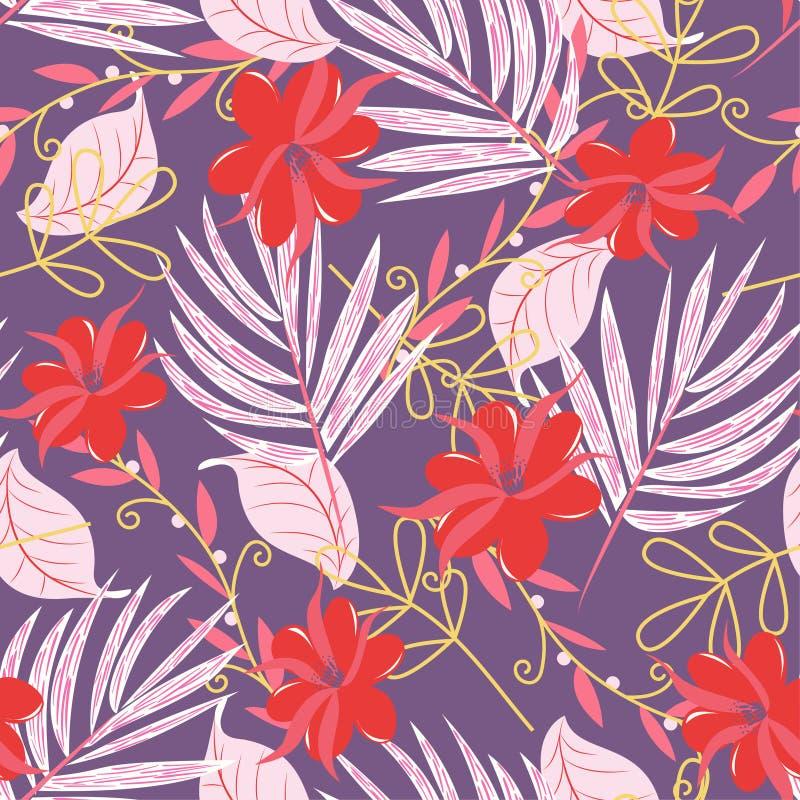 Modello senza cuciture con i fiori e le piante tropicali luminosi su fondo porpora Disegno di vettore Stampa della giungla Priori illustrazione vettoriale