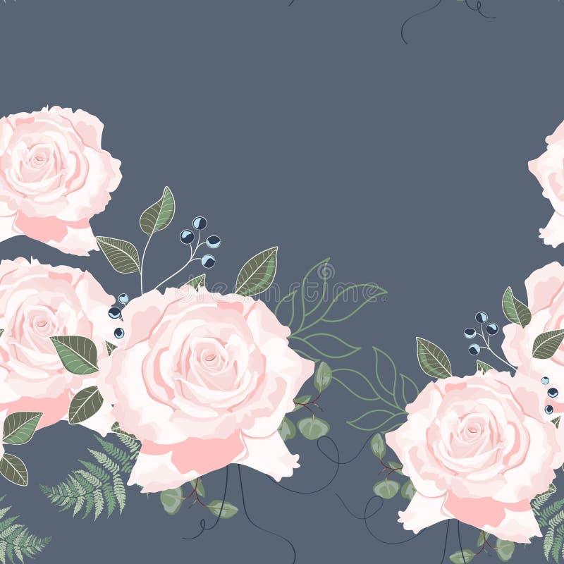 Modello senza cuciture con i fiori e le rose della molla Fondo disegnato a mano royalty illustrazione gratis