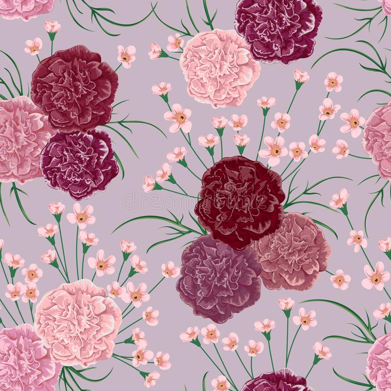 Modello senza cuciture con i fiori ed il alstroemeria del garofano Fondo botanico rustico illustrazione vettoriale