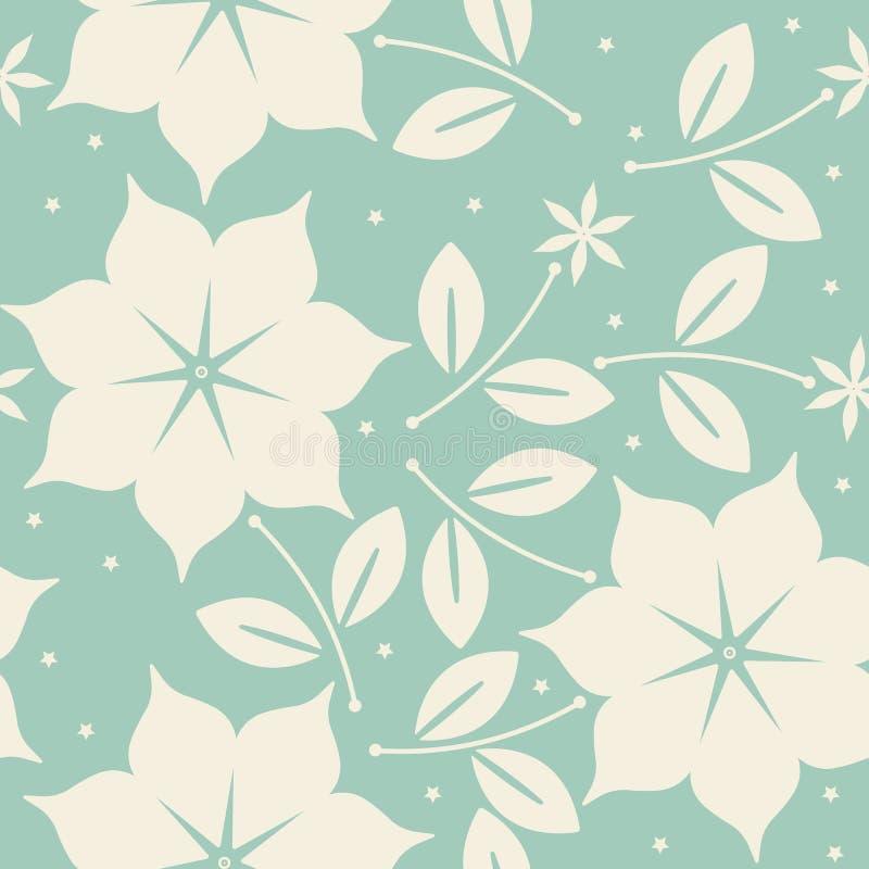 Modello senza cuciture con i fiori eleganti su fondo verde royalty illustrazione gratis