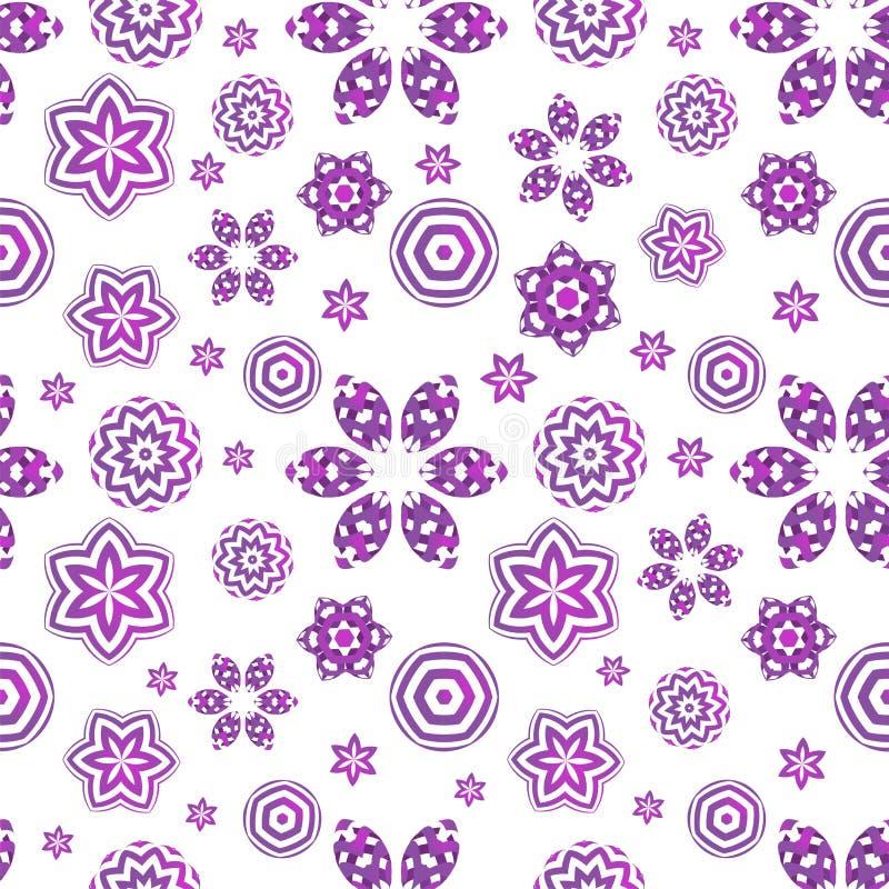 Modello senza cuciture con i fiori geometrici viola su fondo bianco Ornamento floreale creativo illustrazione di stock