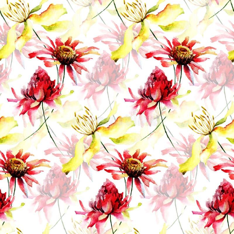 Modello senza cuciture con i fiori selvaggi variopinti illustrazione di stock