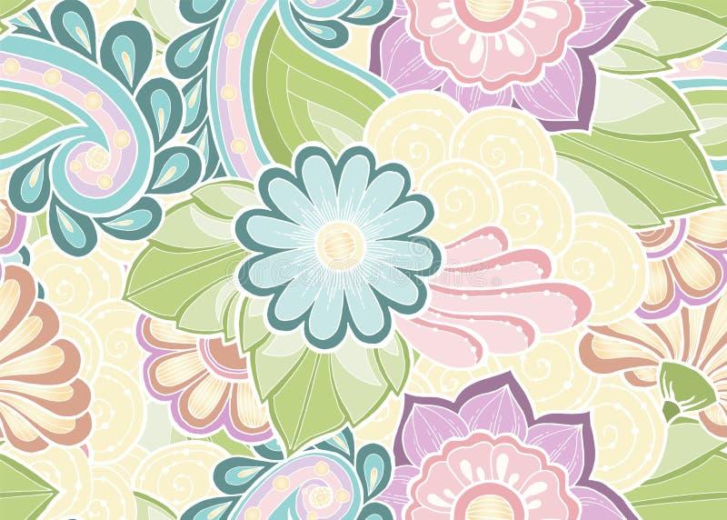 Modello senza cuciture con i fiori stilizzati Origine etnica illustrazione vettoriale