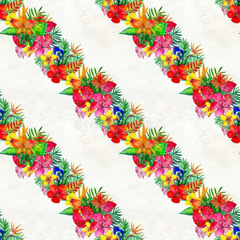 Modello senza cuciture con i fiori tropicali Priorità bassa dell'acquerello illustrazione di stock