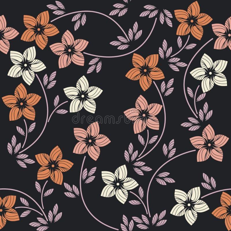 Modello senza cuciture con i fiori variopinti eleganti royalty illustrazione gratis