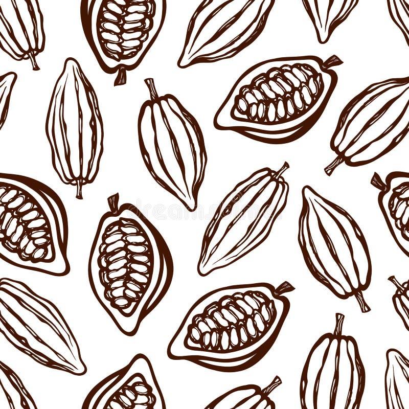 Modello senza cuciture con i frutti del cacao monocromatico Struttura per l'imballaggio, identità corporativa, menu Disegnato a m royalty illustrazione gratis