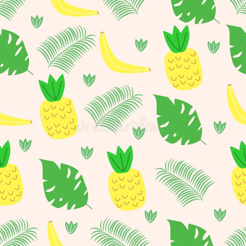 Modello senza cuciture con i frutti e foglie nello stile scandinavo - illustrazione di vettore, ENV royalty illustrazione gratis