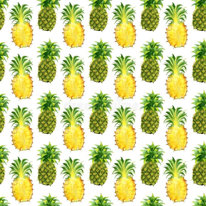 Modello senza cuciture con i frutti esotici tropicali Fetta dell'ananas su fondo bianco royalty illustrazione gratis