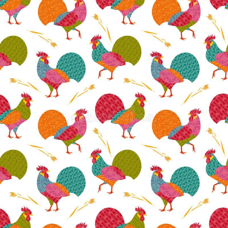 Modello senza cuciture con i galli stilizzati creativi in stile della rappezzatura ed orecchie dell'avena illustrazione di stock