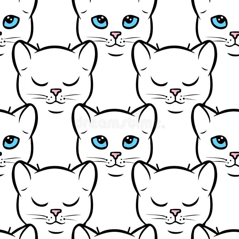 Modello senza cuciture con i gatti bianchi svegli royalty illustrazione gratis