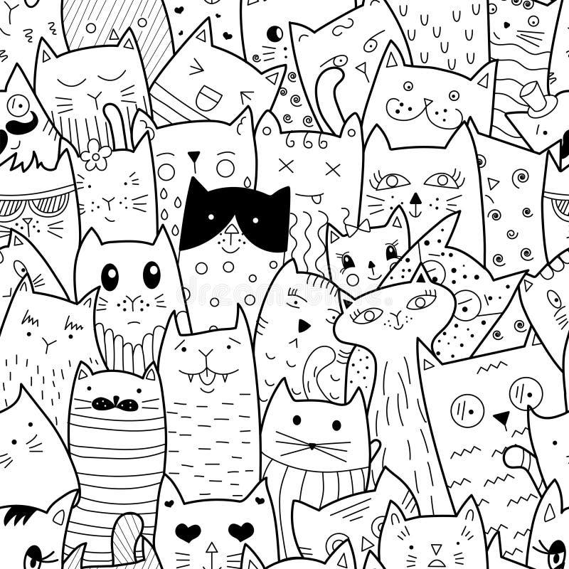 Modello senza cuciture con i gatti di scarabocchio illustrazione vettoriale