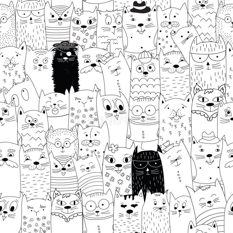 Modello senza cuciture con i gatti di scarabocchio illustrazione di stock