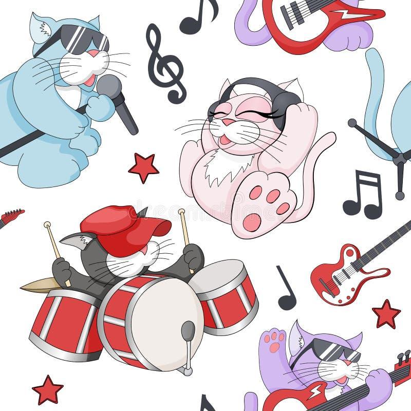 Modello senza cuciture con i gattini musicali del fumetto sveglio su fondo bianco illustrazione di stock