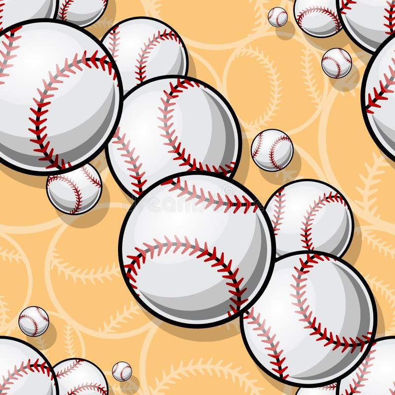 Modello senza cuciture con i grafici della palla di softball di baseball illustrazione di stock