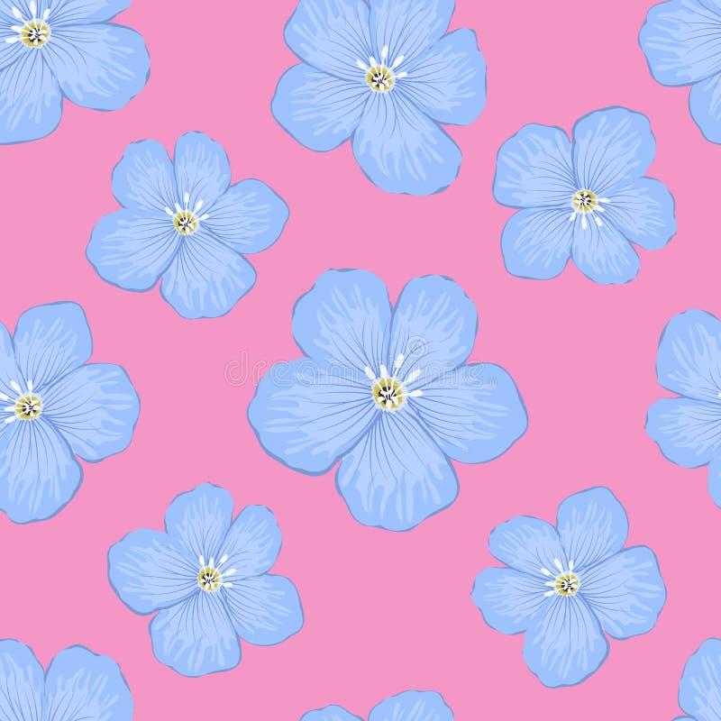 Modello senza cuciture con i grandi fiori blu su un fondo rosa illustrazione di stock