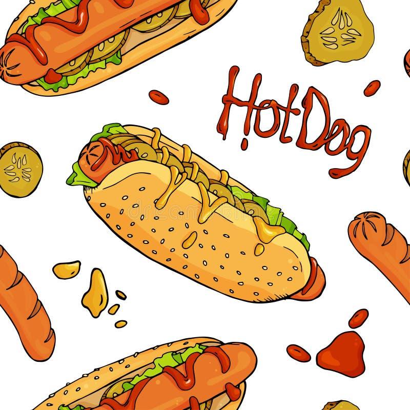 Modello senza cuciture con i hot dog, le salsiccie, il ketchup e la senape su fondo bianco illustrazione vettoriale