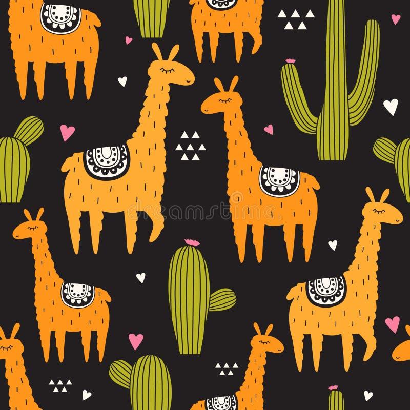 Modello senza cuciture con i lama, cactus, cuori illustrazione vettoriale