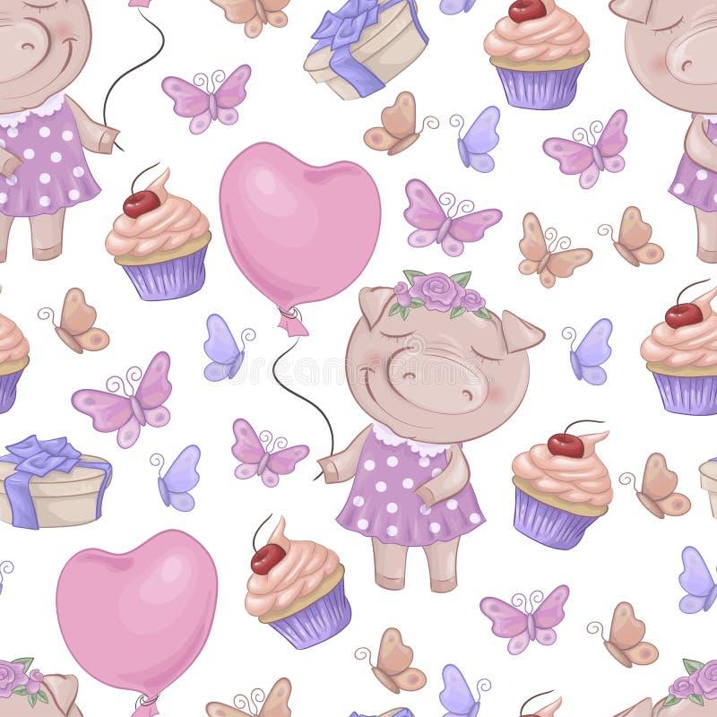 Modello senza cuciture con i maiali svegli del fumetto Illustrazione di vettore royalty illustrazione gratis