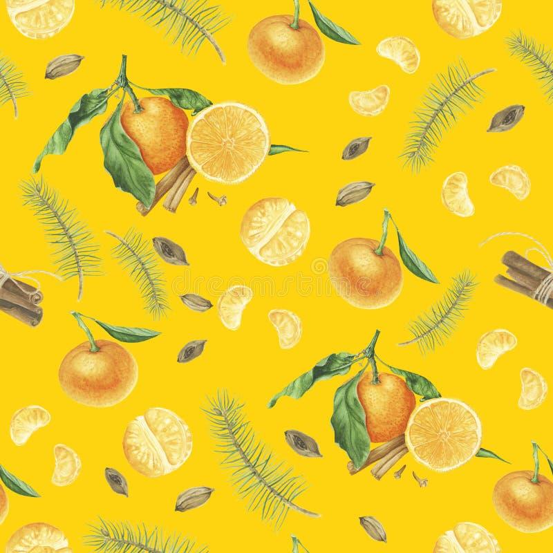 Modello senza cuciture con i mandarini, le spezie ed i rami dell'albero, pittura dell'acquerello royalty illustrazione gratis