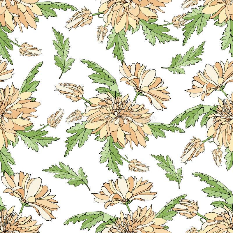 Modello senza cuciture con i mazzi dei crisantemi Struttura senza fine per progettazione le vostre cartoline d'auguri, progettazi royalty illustrazione gratis
