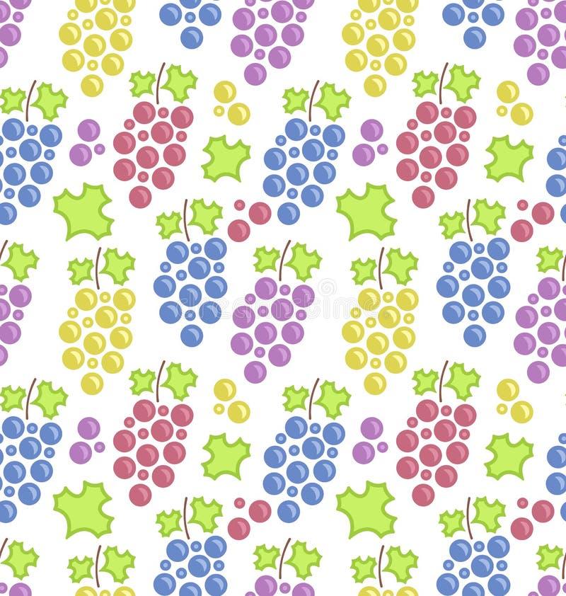 Modello senza cuciture con i mazzi di uva variopinti illustrazione di stock