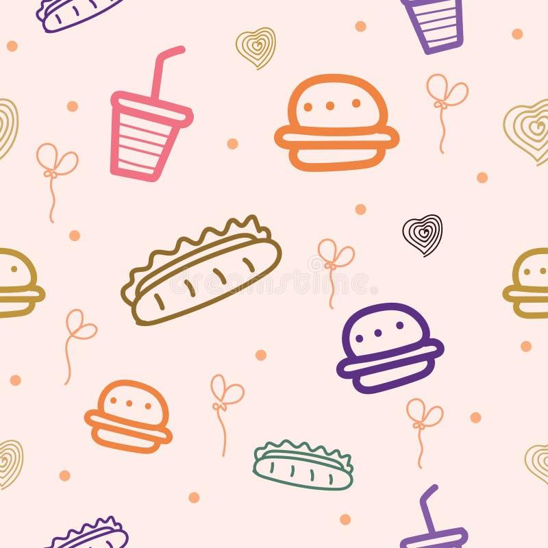Modello senza cuciture con i motivi di alimenti a rapida preparazione, degli hamburger, dei hot dog e di altri illustrazione di stock