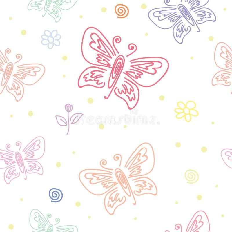 Modello senza cuciture con i motivi di varie farfalle Modello senza cuciture dell'ornamento della farfalla per progettazione di a illustrazione di stock