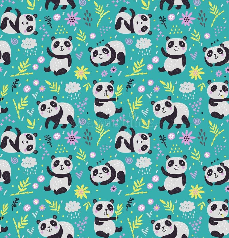 Modello senza cuciture con i panda royalty illustrazione gratis