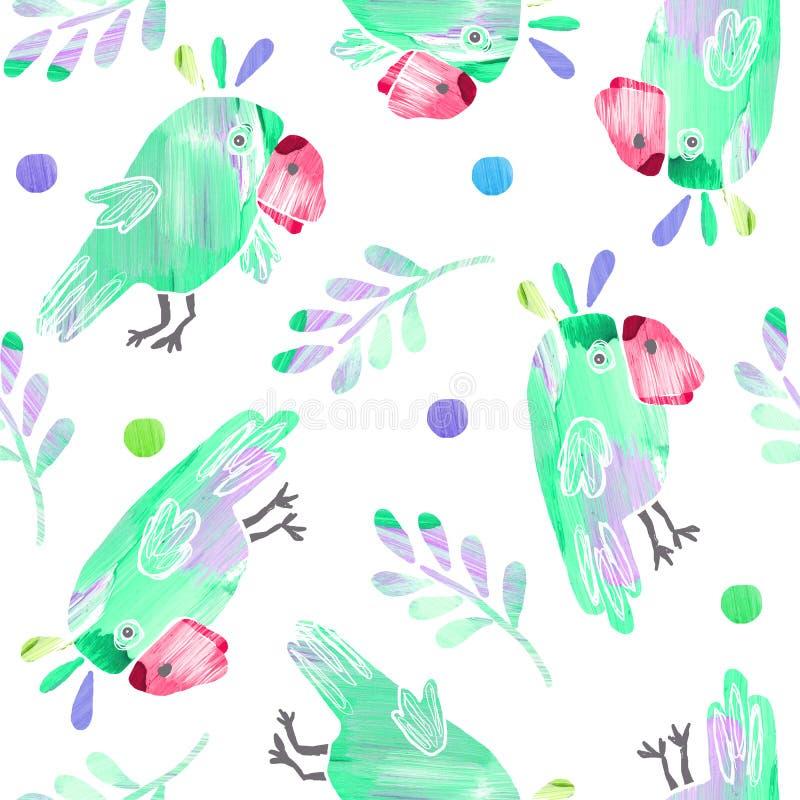 Modello senza cuciture con i pappagalli e le foglie svegli illustrazione vettoriale