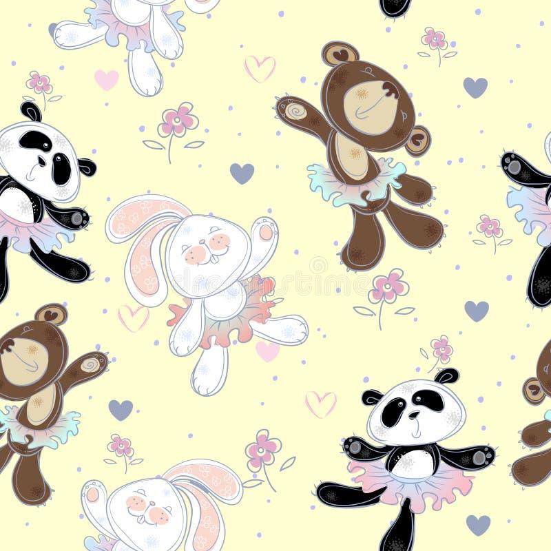 Modello senza cuciture con i piccoli animali svegli Il coniglietto l'orso ed il panda Ballerine, vettore illustrazione di stock