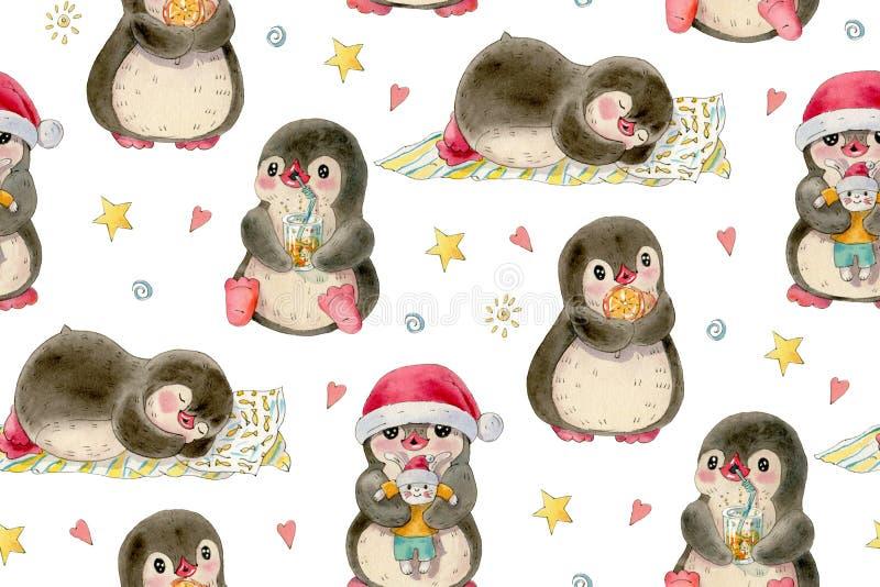 Modello senza cuciture con i pinguini svegli royalty illustrazione gratis