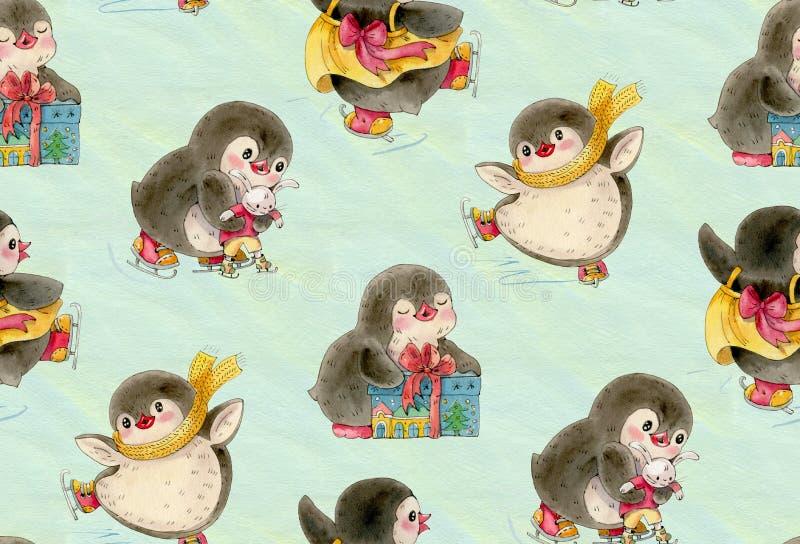 Modello senza cuciture con i pinguini svegli illustrazione di stock