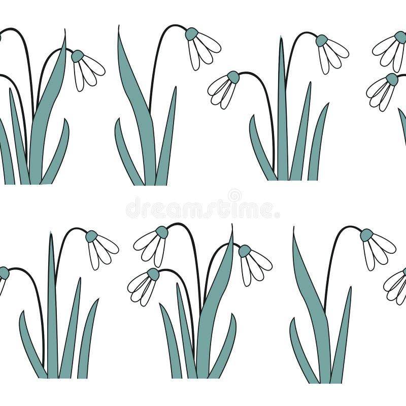 Modello senza cuciture con i primi fiori della molla Illustrazione di vettore con i bucaneve grafici illustrazione di stock