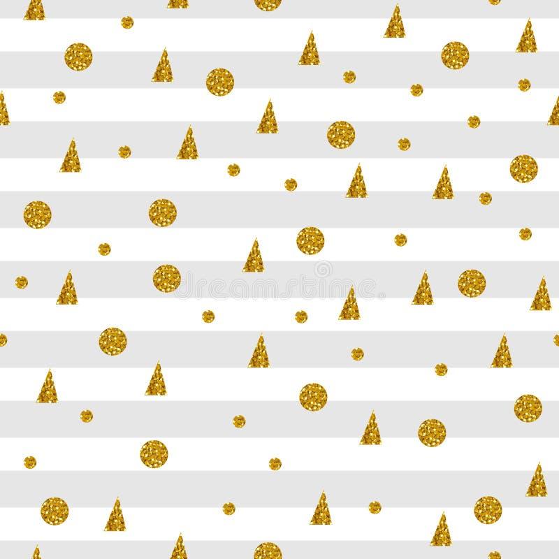 Modello senza cuciture con i punti ed i triangoli dell'oro su fondo a strisce royalty illustrazione gratis