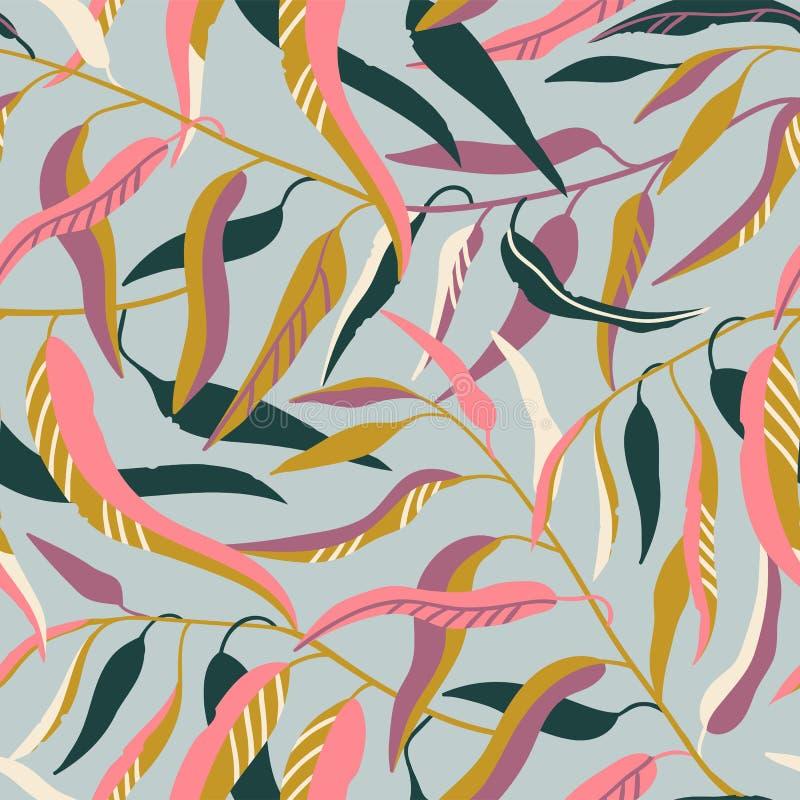 Modello senza cuciture con i rami di albero svegli dell'eucalyptus con le foglie verdi e rosa sui precedenti grigi Illustrazione  royalty illustrazione gratis
