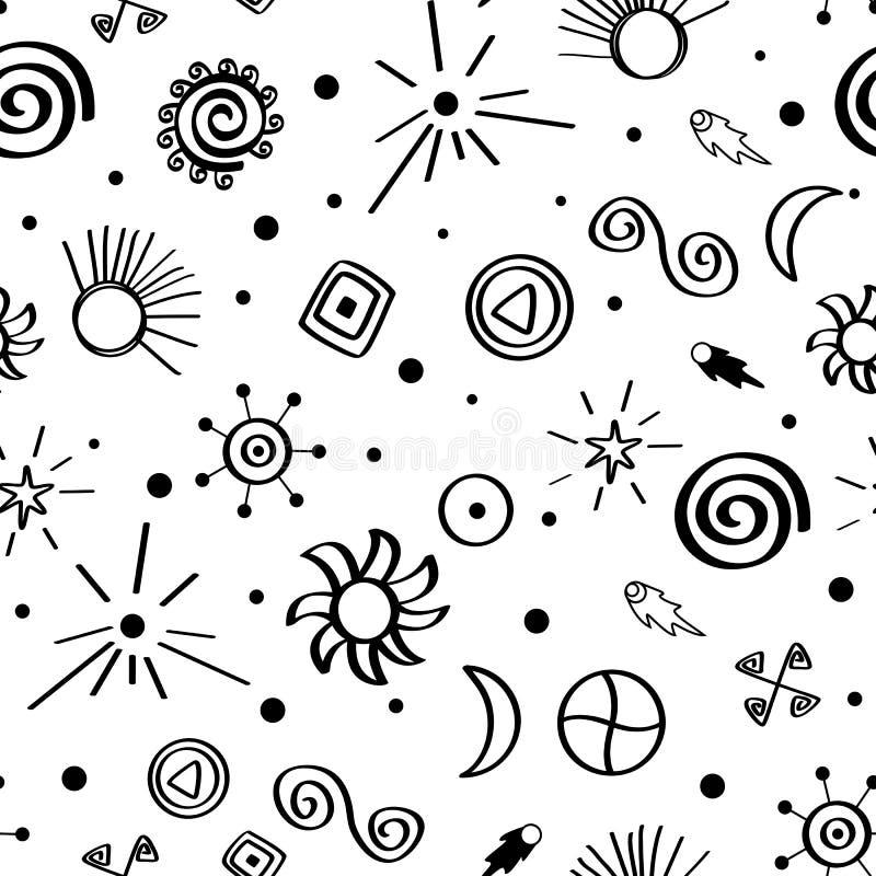 Modello senza cuciture con i simboli del cielo Retro raccolta del tessuto Bianco ed il nero illustrazione di stock