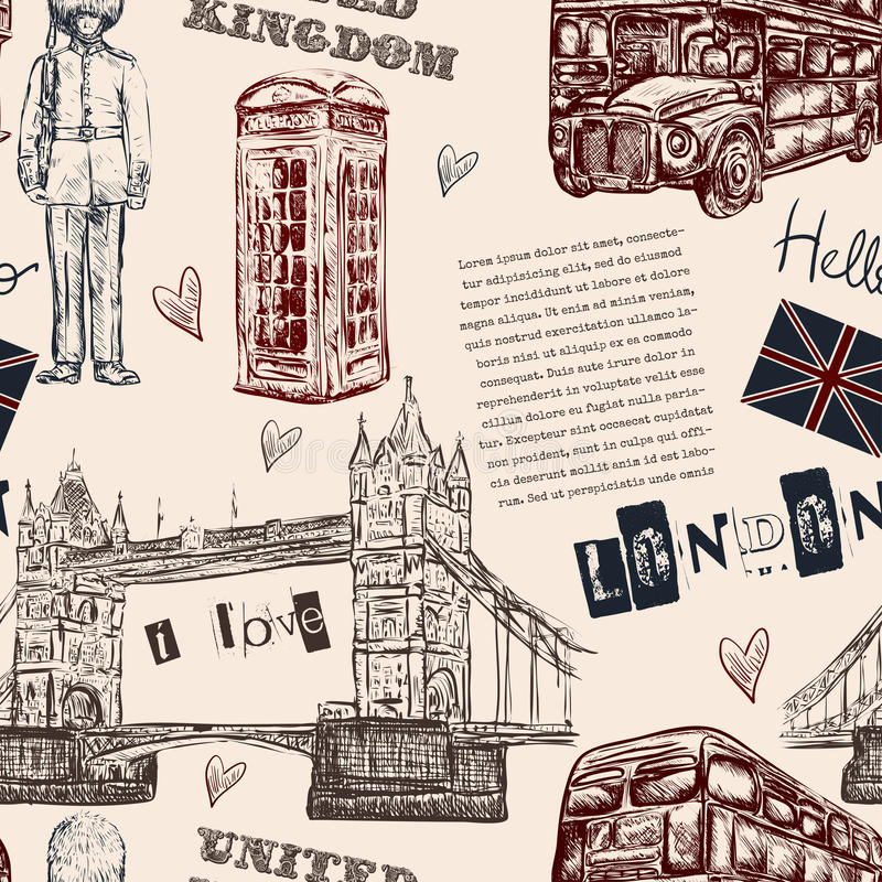 Modello senza cuciture con i simboli del punto di riferimento di Londra Illustrazione disegnata a mano d'annata di vettore royalty illustrazione gratis
