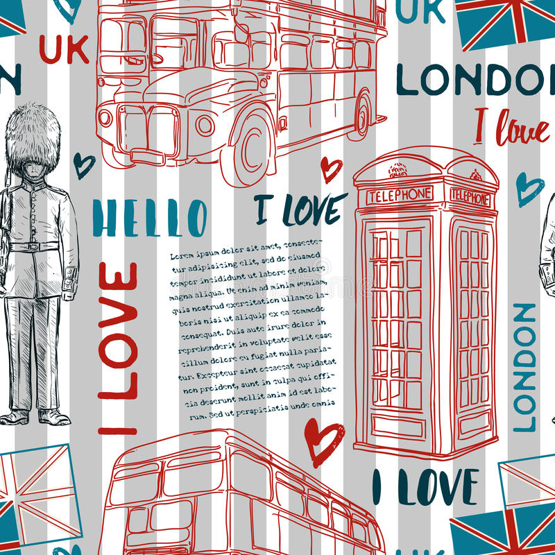 Modello senza cuciture con i simboli del punto di riferimento di Londra su fondo a strisce illustrazione vettoriale