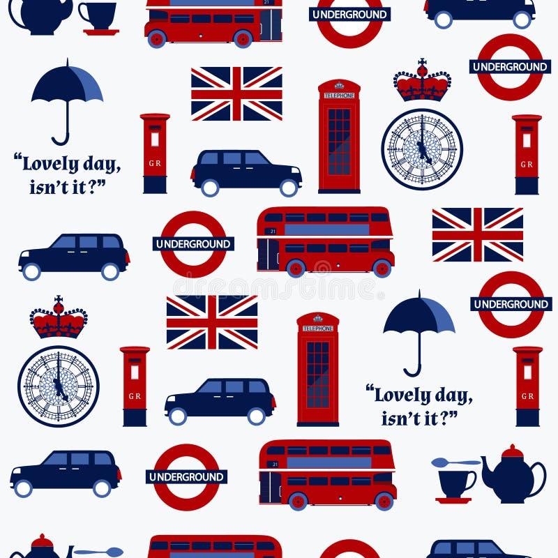 Modello senza cuciture con i simboli inglesi illustrazione vettoriale