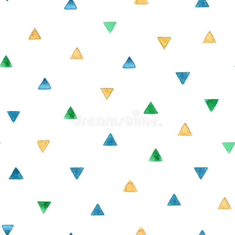 Modello senza cuciture con i triangoli luminosi dell'acquerello Illustrazione di vettore illustrazione vettoriale